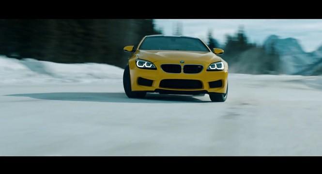 Wściekle żółte BMW M6 szaleje po śniegu