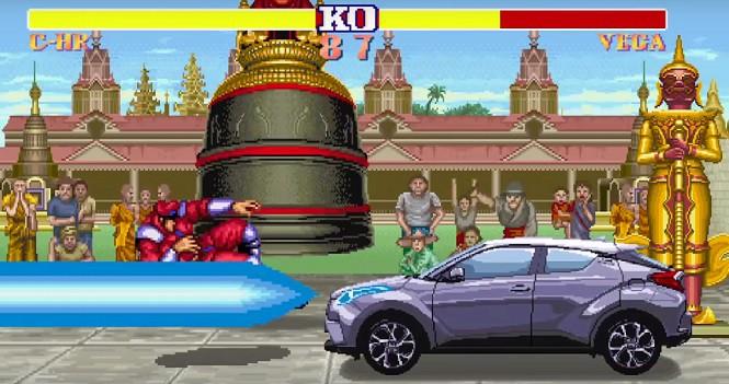 Toyota C-HR postacią w świecie gry Street Fighter II