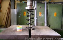 Co stanie się ze sprężyną zawieszenia, gdy ściśniemy ją prasą hydrauliczną?