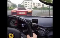 Lamborghini Aventador przypaliło przedni zderzak Ferrari